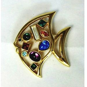 Multi Colored Rhinestone Fish Brooch Unsig…